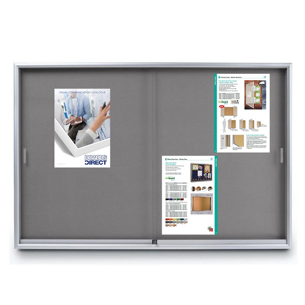 notice boards with glass sliding doors